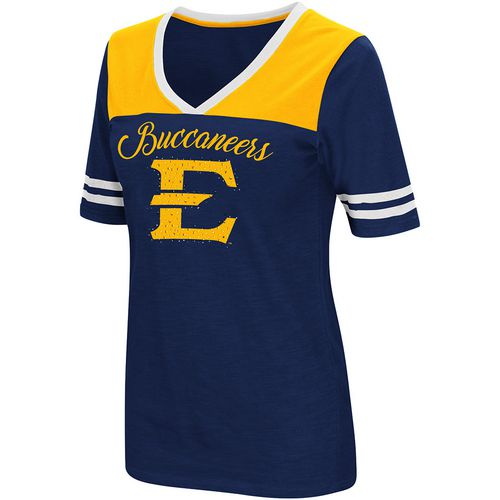 Colosseum Athletics Women's East Tennessee State University Twist 2.1 V-Neck T-shirt