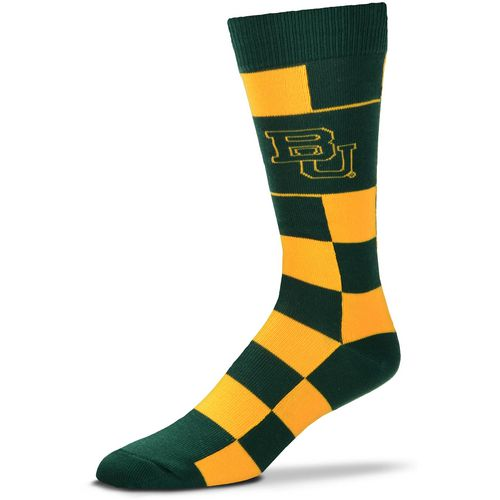 For Bare Feet Baylor University Jumbo Checkered Crew Dress Socks
