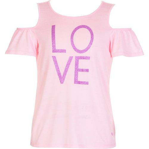 Layer 8 Girls' Cold Shoulder Love Glitter Ruffle T-shirt - view number 1