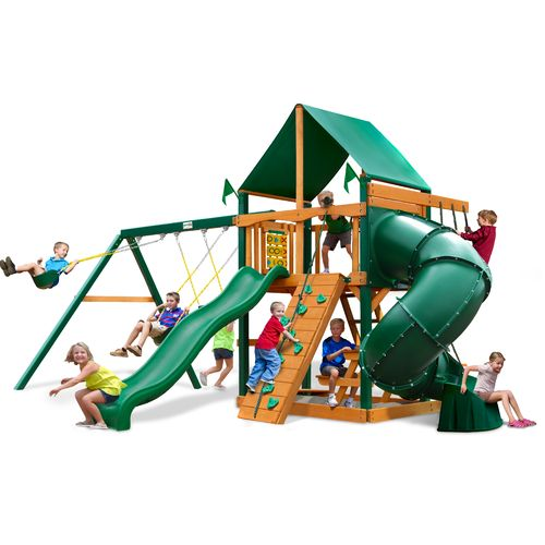 Gorilla Playsets™ Mountaineer Clubhouse Swing Set with Timber Shield™ and Deluxe Vinyl Can