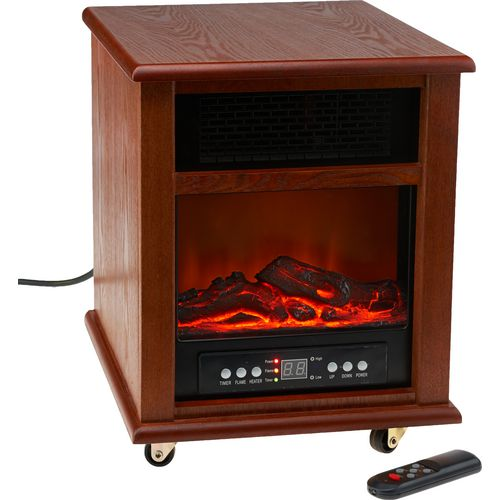 Konwin Home 4-Tube Infrared Element Cabinet Fireplace Heater