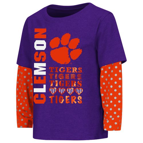 Colosseum Athletics Toddler Girls' Clemson University Super Cool Layered T-shirt
