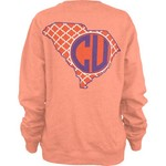 Three Squared Women's Clemson University Quatrefoil Fleece Long Sleeve T-shirt