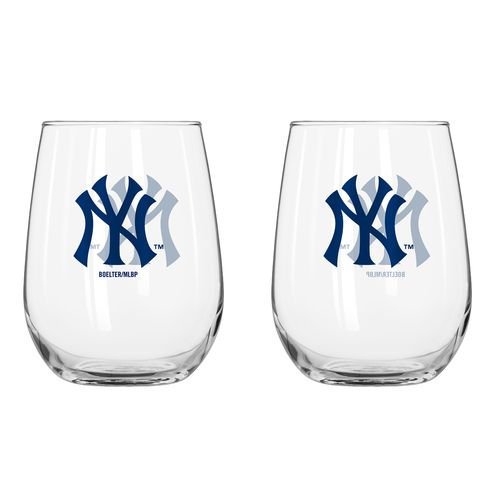 Boelter Brands New York Yankees 16 oz. Curved Beverage Glasses 2-Pack