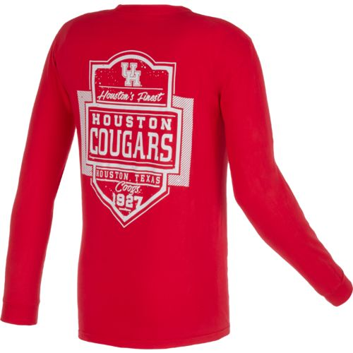 Image One Men's University of Houston Finest Shield Comfort Color Long Sleeve T-shirt