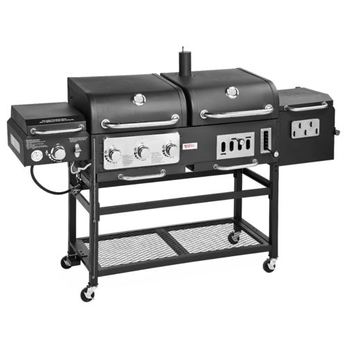 Outdoor Gourmet Pro  Triton DLX 4-Burner Propane and Charcoal Grill and Smoker Combo