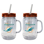 Boelter Brands Miami Dolphins 20 oz. Handled Straw Tumblers 2-Pack