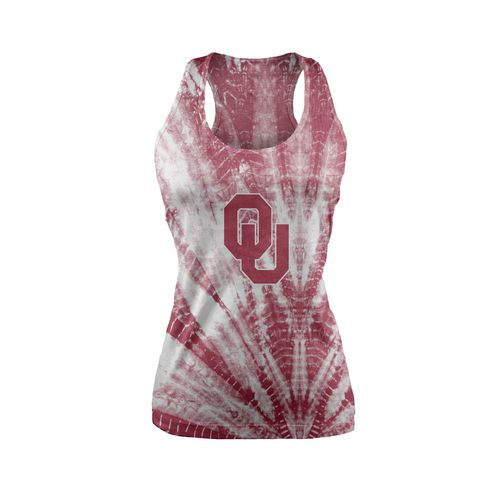 Chicka-d Women's University of Oklahoma Tie Dye Racerback Tank Top