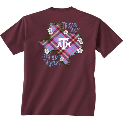 New World Graphics Women's Texas A&M University Bright Plaid T-shirt - view number 1