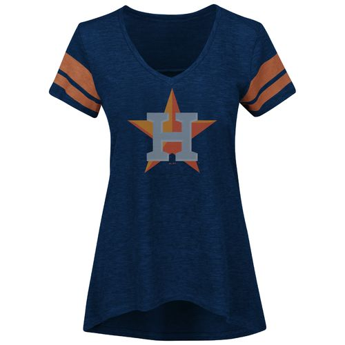 Majestic Women's Houston Astros Check the Tape V-neck T-shirt