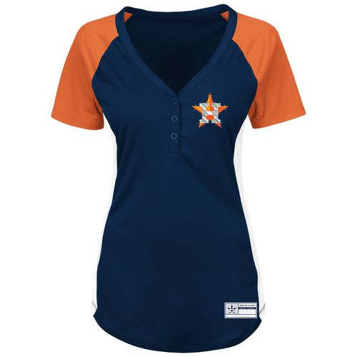 Majestic Women's Houston Astros League Diva V-neck Raglan Top