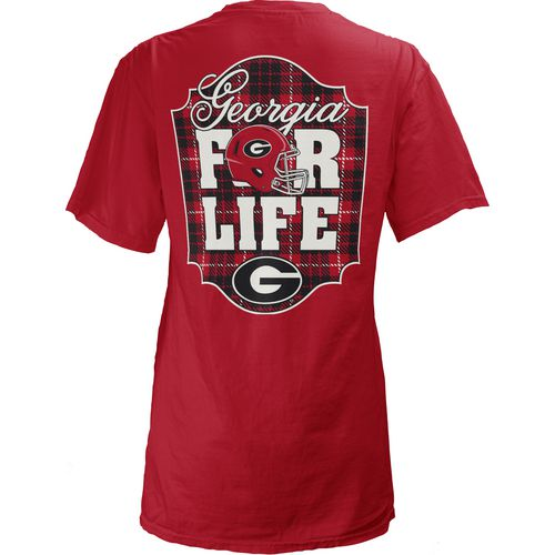 Three Squared Juniors' University of Georgia Team For Life Short Sleeve V-neck T-shirt