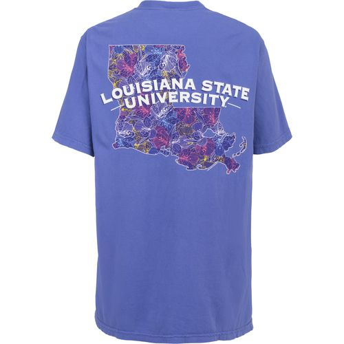New World Graphics Women's Louisiana State University Comfort Color Puff Arch T-shirt