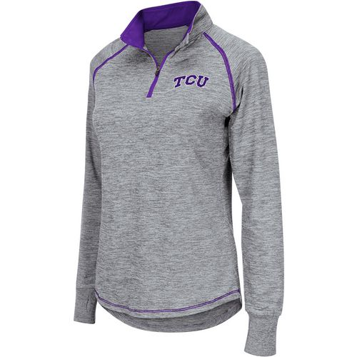 Colosseum Athletics Women's Texas Christian University Bikram 1/4 Zip Long Sleeve T-shirt