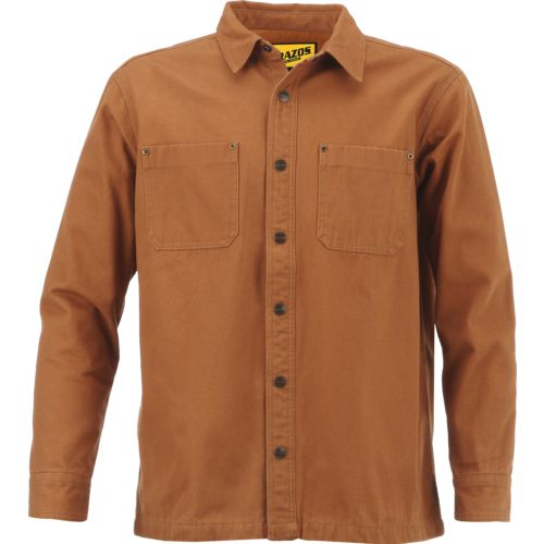 Brazos Men's Contractor Duck Canvas Flannel Lined Shirt Jacket ...
