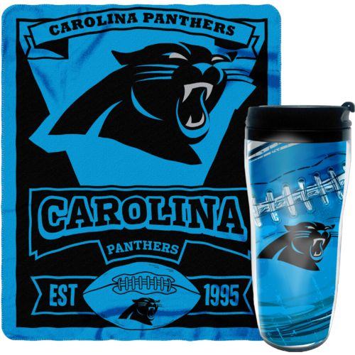 Display product reviews for NFL Carolina Panthers Mug and Snug Fleece Throw and Travel Tumbler Gift Set