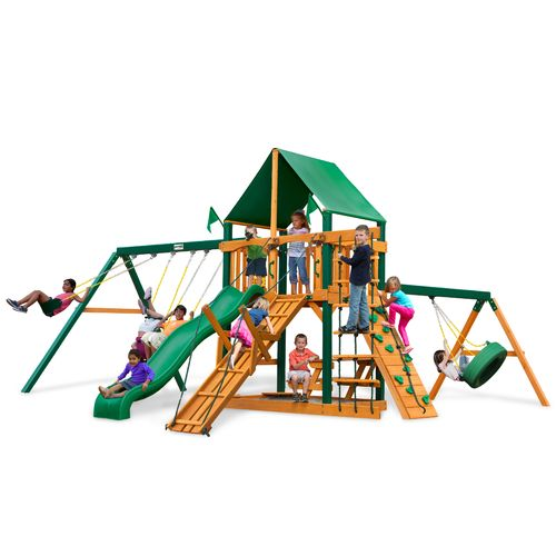 Gorilla Playsets™ Frontier Swing Set with Timber Shield™ and Deluxe Vinyl Canopy
