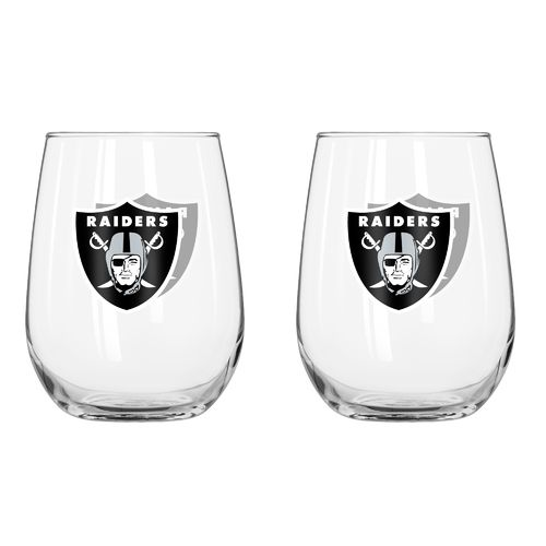 Boelter Brands Oakland Raiders 16 oz. Curved Beverage Glasses 2-Pack