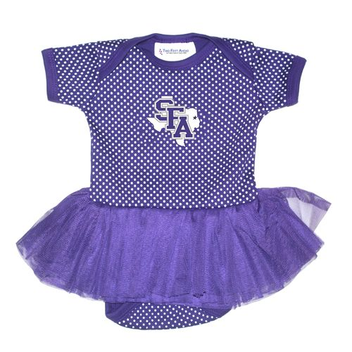 Two Feet Ahead Infant Girls' Stephen F. Austin State University Pin Dot Tutu Creeper