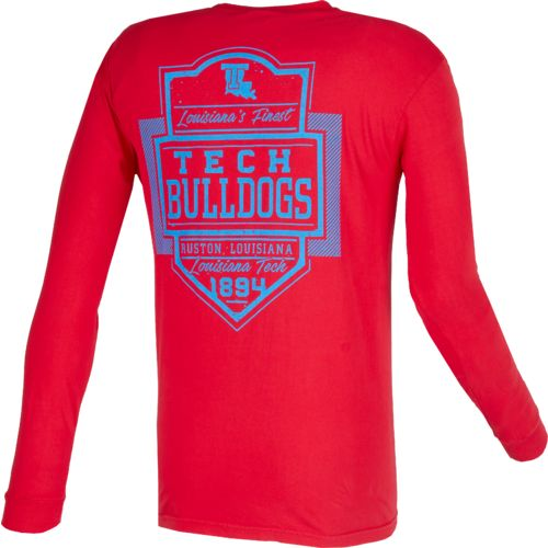 Image One Men's Louisiana Tech University Finest Shield Comfort Color Long Sleeve T-shirt