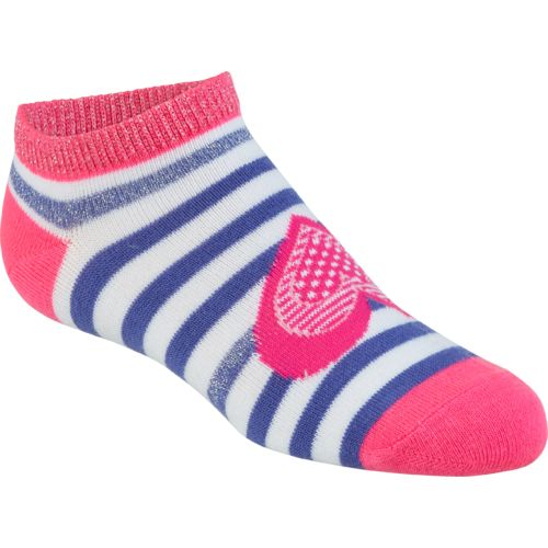 BCG Girls' Hearts and Stripes No-Show Socks 6 Pairs