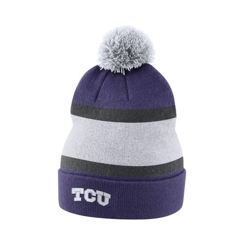 Nike Men's Texas Christian University Sideline Cuffed Pom Beanie
