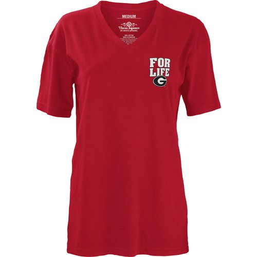 Three Squared Juniors' University of Georgia Team For Life Short Sleeve V-neck T-shirt - view number 2
