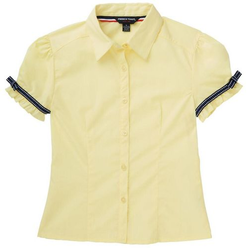 French Toast Girls' Short Sleeve Ribbon Bow Blouse