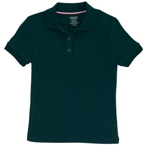 French Toast Girls' Plus Size Uniform Polo Shirt with Picot Collar