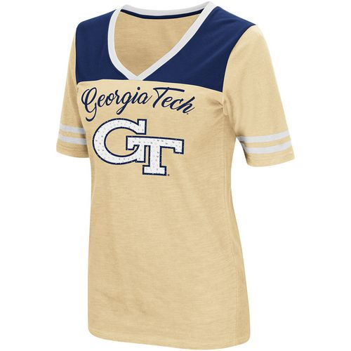 Colosseum Athletics Women's Georgia Tech Twist 2.1 V-Neck T-shirt