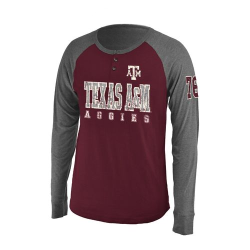 Colosseum Athletics Men's Texas A&M University Spotter Long Sleeve Henley Shirt