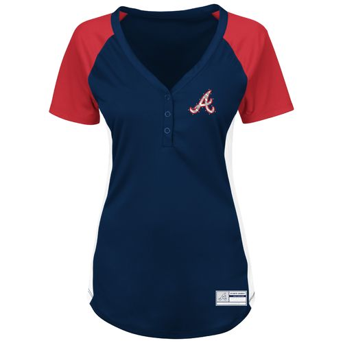 Majestic Women's Atlanta Braves League Diva V-neck Raglan T-shirt