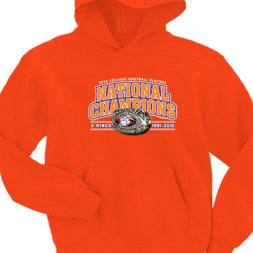 New World Graphics Men's Clemson University 2016 National Champions Ring Hoodie