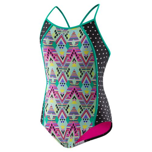 Speedo Girls' Diamond Geo Splice 1-Piece Swimsuit
