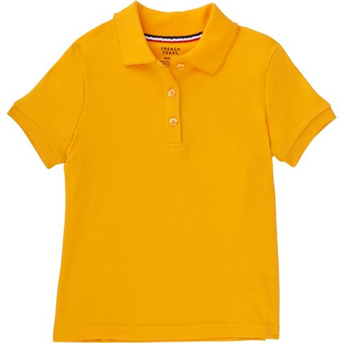 French Toast Toddler Girls' Short Sleeve Picot Collar Polo Uniform Shirt