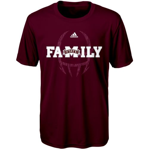 adidas Boys' Mississippi State University Sideline Mantra Short Sleeve Clima T-shirt