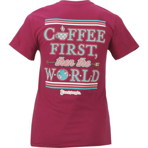 Love & Pineapples Women's Coffee First Then the World T-shirt