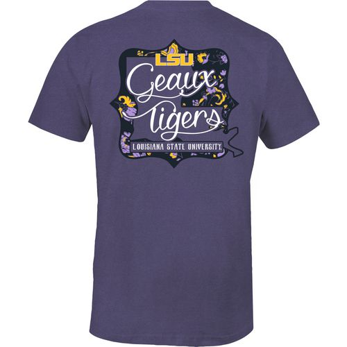 Image One Women's Louisiana State University State Cutout Comfort Color T-shirt
