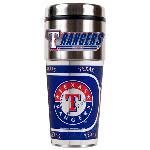 Great American Products Texas Rangers 16 oz. Travel Tumbler with Metallic Wrap