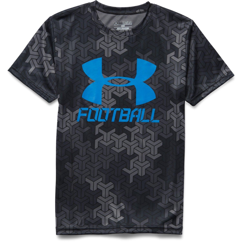 Under armour boys 39 big logo football t shirt academy for Under armor football shirts