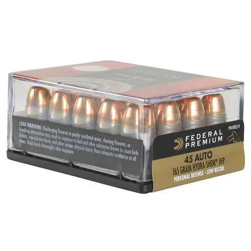 Display product reviews for Federal Premium .45 ACP 165-Grain Hydra-Shok JHP Centerfire Pistol Ammunition