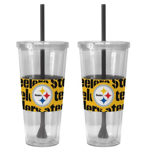 Boelter Brands Pittsburgh Steelers Bold Neo Sleeve 22 oz. Straw Tumblers 2-Pack - view number 1