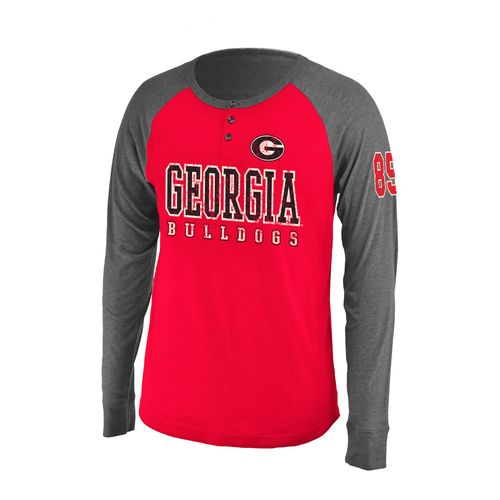 Colosseum Athletics Men's University of Georgia Spotter Long Sleeve Henley Shirt