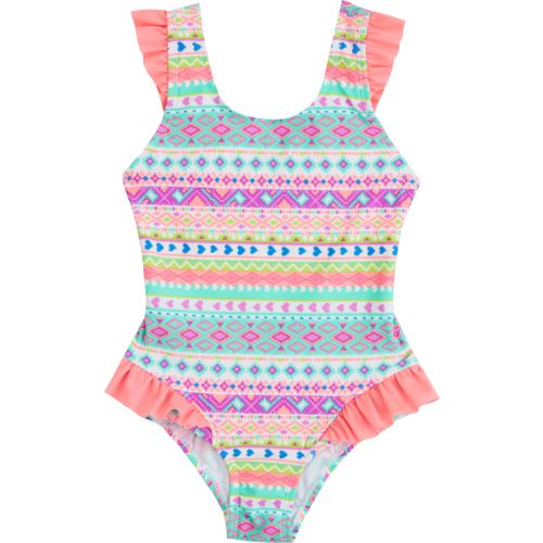 O'Rageous Kids Girls' Hippie Hearts 1-Piece Bathing Suit