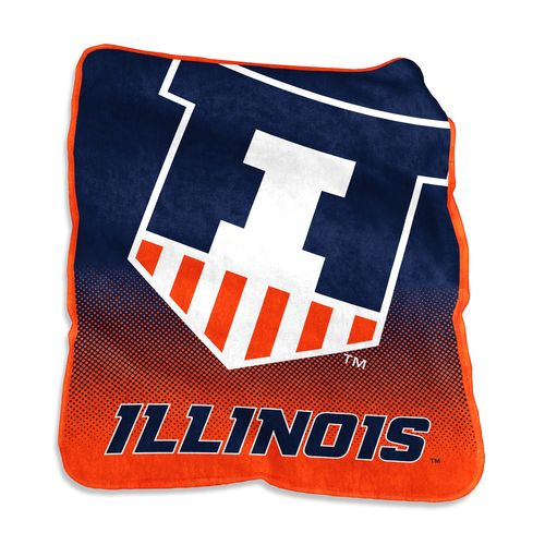 Logo University of Illinois 50 in x 60 in Raschel Throw