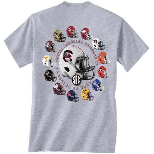 New World Graphics Men's University of South Carolina Helmets T-shirt
