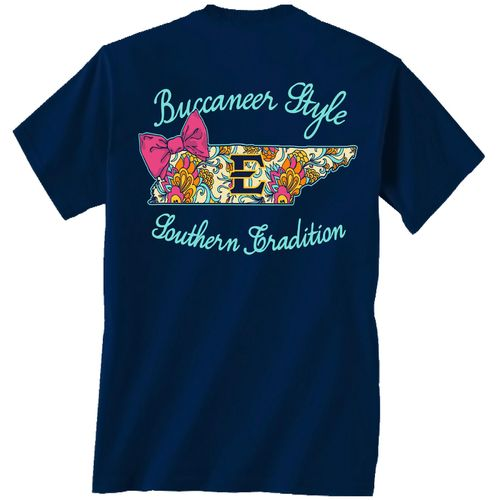 New World Graphics Women's East Tennessee State University Bright Bow T-shirt