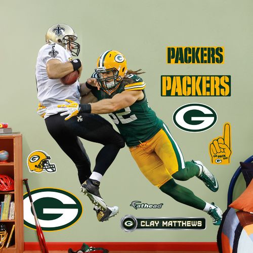 Fathead Green Bay Packers Clay Matthews Takes It On Real Big Wall Decal