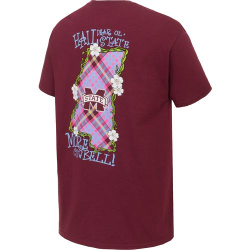 New World Graphics Women's Mississippi State University Bright Plaid T-shirt