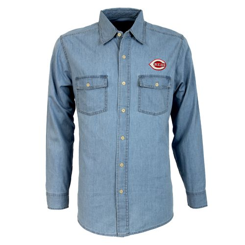 Antigua Men's Cincinnati Reds Long Sleeve Button Down Chambray Shirt